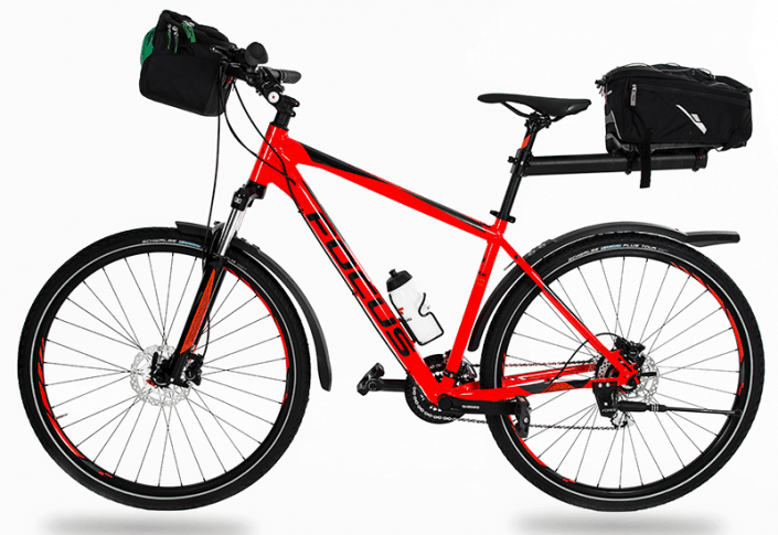 Hybrid bike loaded for touring